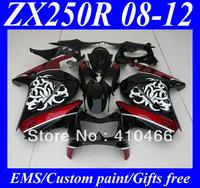 Injection Fairing kit for KAWASAKI Ninja 250R ZX250R ZX250 08 09 10 11 12 EX250 2008 2012 white flowers red blk Fairings KH21