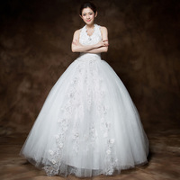 2013 new arrival sweet princess halter-neck wedding dress diamond lace flower wedding dress