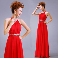 2013 bridal halter-neck quality rhinestone welcome red formal dress evening dress