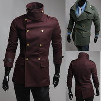 2013 unique gold buckle double breasted epaulette large lapel wool coat male