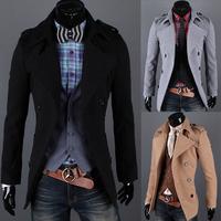 2013 double breasted fashion epaulette male wool coat