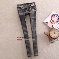2013 Dark gray butt-lifting skinny pencil pants jeans female