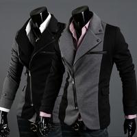 Fashion irregular zipper coat male color block decoration cloth slim blazer 2559