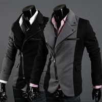 Fashion irregular zipper coat male color block decoration cloth slim blazer 2559
