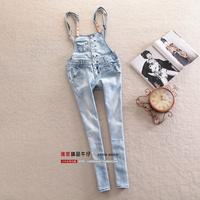 Fashion cute 2013 skinny jeans pants denim bib pants female trousers