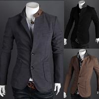New arrival coat male suit collar color block decoration Men slim suit coat 2186