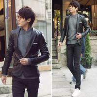 Luxury elegant uyuk blazer color block bags slim leather male casual suit 2510