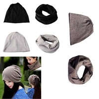 Unisex Dual Purpose Solid Cotton Baggy Beanie Winter Ski Slouchy Hat Cap