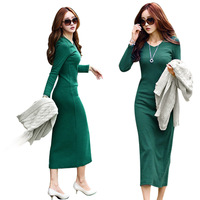New 2013 Womens High Street Style Slim Hip Tight-Fitting Full Sleeve V-Neck Knitted  Long Maxi Sweater Dress Free Shipping HX180