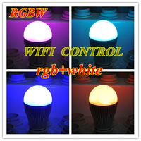 2.4G 9W AC85 265V aluminum  Wifi RGBW E27 led bulb, with full color and dim/brightness adjustable,wifi led bulb