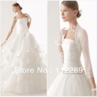 White Organza Ruffle Ball Gown Wedding Dress 2014 With Jacket HZ3526