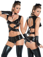 Patent leather dress sexy lingerie customized nightclub lead dancer clothing dress women pole dancing club costume dance dress