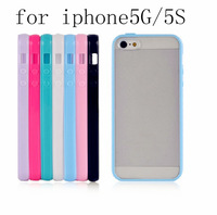 100% New High Quality 8 Color TPU+PC Transparent edge Case cases Cover For Iphone 5 5G 5S