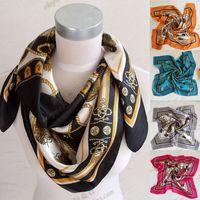 Fashion chain saddleries series women's silk large facecloth silk scarf red blue black  free shipping