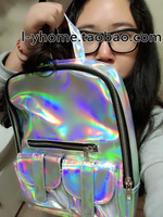 L & y unif HARAJUKU symphony laser reflective backpack metal color space backpack