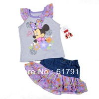 Free Shipping 4pcs/lot 2013 New Arrival Girls Minnie Mouse Clothing Set Sleeveless T-shirt+Denim Flower Skirt Baby Cartoon Cloth