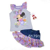 Free Shipping 4pcs/lot 2013 New Arrival Girls Minnie Mouse Clothing Set Sleeveless T-shirt+Denim Flower Skirt Baby Cartoon Cloth