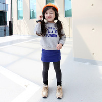 Ilovej2013 spring and autumn female child long-sleeve T-shirt short skirt twinset 3044