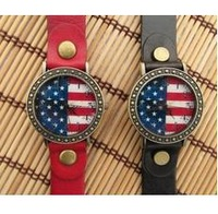 Creative leather watch restoring ancient ways the flag of the United States neutral table couples watch wholesale men and women