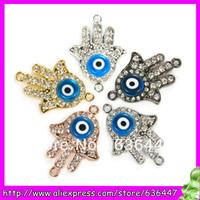50PCS Side Ways Crystal Rhinestones Hand Hamsa and Evil Eye Connector Charm Beads Pick in 30x17mm