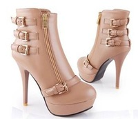 Free Shipping New Arrival!Autumn And Winter Side Zipper High-heeled Boots, Thin Heels Sexy Fashion Buckle Boots,Martin Boots