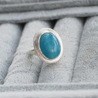 Wnoderland  handmade  silver free shipping natural aquamarine ring inlaying 486