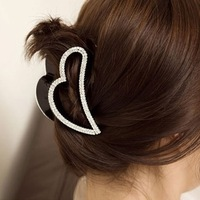 Free shipping!Heart gripper black crystal hair caught fashion hair accessory hairgrip women hair jewelry hair clip wholesale