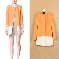 New Women Round Collar Top Coat Simple Zipper Long Sleeve Jacket Overcoat 3062