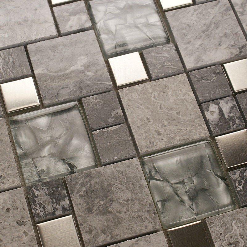 mosaic tile mirror kitchen backsplash metal crystal glass stone blend