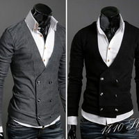 Free Shipping Men's Knitwear Cardigan Fake Pocket Design Slim Casual Sweater Coat Wholesale 2013 Autumn New  MA0038