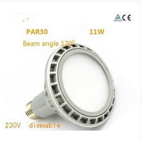 AC230V/120V 11W PAR30 spotlights led. E27 high lumens 120 degrees beam angle aluminum led spot