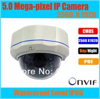 CMOS 5 Megapixel full HD Vandalproof IP dome camera 2560*1920 indoor&outdoor 4-9mm lens IR 30M security cctv video web cam POE