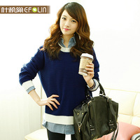 2013 autumn women's o-neck sweater female loose sweater pullover sweater long-sleeve women's outerwear