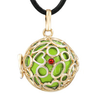 6PICS/lot   Baby gift Mexican bola green ball with cage Pregnancy Pendant  bali belly chime Necklace 6H25A13