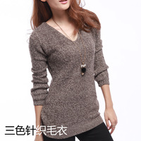 Pullovers ON Sale promotion 2013 women's female sweater pullover basic V-neck sweater shirt loose plus size mm  Cheap HOT