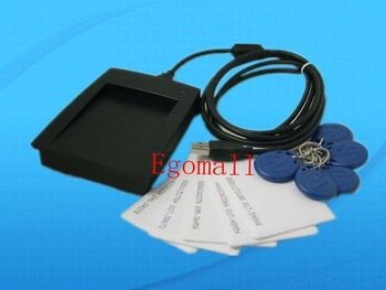 USB 125KHz EM4100 RFID Proximity Reader + 5 Clamshell Card + 5 Keyfob F Access Control Staff Membership Management