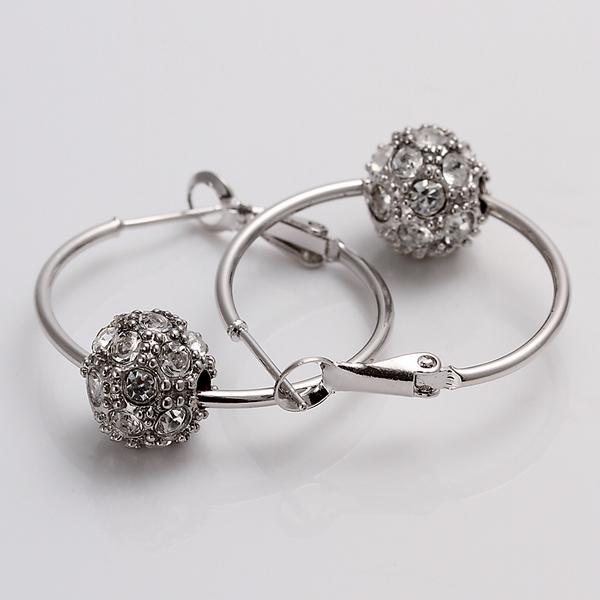 Lekani 18K Rhinestone Crystal Silver Dangle Ball Earrings(China (Mainland))