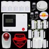Wireless GSM SMS Home Auto-Dial Burglar Security Intruder Alarm System SOS intercom Alarm system DIY Kit  + Lanyard panic button