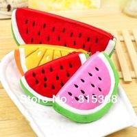 Free Shipping Fluff Fruit Coin purse Watermelon style change purse plush coin bag Fashion gift 24pcs/Lot