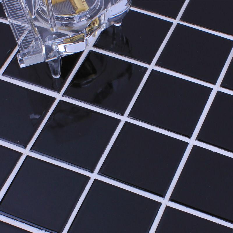 FREE shipping Porcelain Tiles floor black glazed mosaic wall tile backsplash bathroom shower designs swimming pool border tile(China (Mainland))