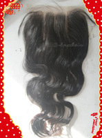 Stock Brazilian Virgin Closure,three part