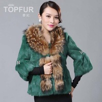 Free Shipping Wholesale 2013 rabbit fur three quarter sleeve fur women's short design o-neck raccoon fur outerwear