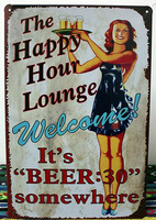 20*30cm Tin Sign THE HAPPY HOUR LOUNGE Tinplate Poster Metal Painting Decor Wall Home Bar Pubs Cafe Shop Retro Style Decoration