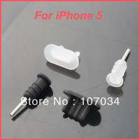 100pcs Anti-dust Charging Port/ Data Block + 100pcs Earphone Jack Plug for iPhone 5, Black & White Available, A0276