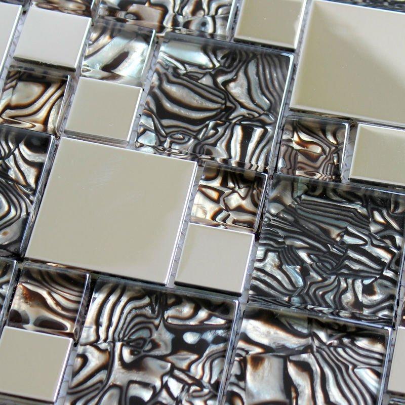 Keuken Aluminium Plaat : Kitchen Backsplash Metal Tiles