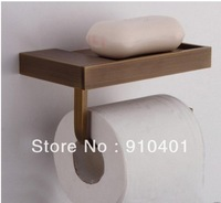 Free Shipping Wholesale And Retail Promotion Antique Brass Square Soap Dish Holder With Toilet Paper Holder / Towel Holder
