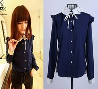 6359 spring pleated lacing collar small butterfly sleeve shirt