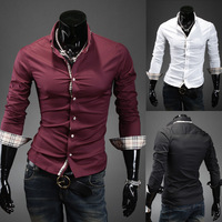 Free shipping fashion brand casual plaid long-sleeved shirt side. Solid long-sleeved shirt. Slim Men's Shirt