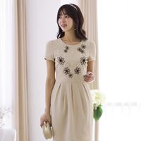 10042013 short-sleeve summer one-piece dress ol elegant high quality women's organza dress