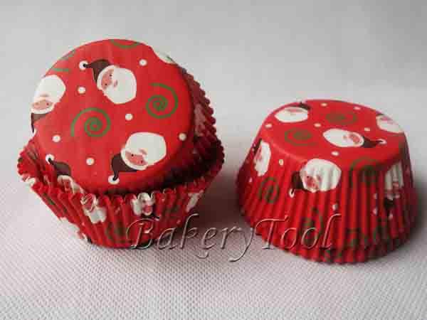 100 pcs Father Christmas cupcake liners shape for cake plate for cakes baking cups for Christmas decoration(China (Mainland))